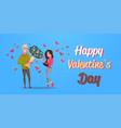 man present woman bouquet of flowers happy vector image vector image