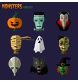 monsters set icons vector image