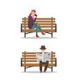 old person reading newspaper and lady set vector image vector image