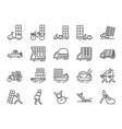 overweight transport line icon set vector image vector image