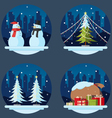 pack flat design christmas decorations vector image vector image