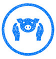 Pig care hands rounded grainy icon