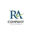 ra letter logo design vector image vector image