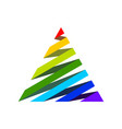 rainbow 3d ribbon triangle shape symbol logo vector image
