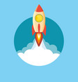 rocket flying over clouds with bitcoin icon vector image