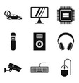 safety system icons set simple style vector image vector image