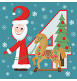 Santa Claus and wooden horse vector image vector image