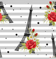 seamless floral pattern with eiffel towers vector image