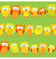 Seamless pattern with cute owls on green dotted vector image vector image