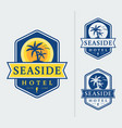 seaside hotel logo emblems vector image