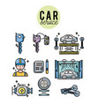 set mechanic service station repair vector image