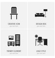set of 4 editable furnishings icons includes vector image