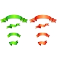 Set of green and orange ribbons vector image