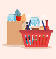 shopping basket and bag with products vector image