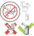 sign not to throw paper in the toilet vector image vector image