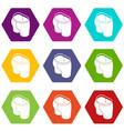 sport short icons set 9 vector image