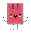 square animated kawaii shopping bag icon with vector image vector image