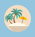 Summer beach flat icon vector image vector image
