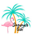 summer love hand drawn lettering with flamingo vector image vector image