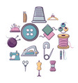 tailor tools icons set cartoon style vector image vector image