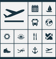 traveling icons set with restaurant roads sun vector image vector image
