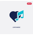 two color love music icon from birthday party and vector image