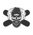vintage monochrome bearded and mustached skull vector image vector image