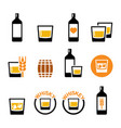 whisky or whiskey icon set - alcohol drink vector image