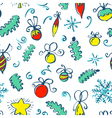 winter seamless pattern with decoration balls vector image vector image