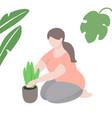 woman plants flower in pot summer gardening vector image