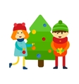 Kids near pine tree vector image