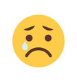 yellow cartoon face cry sad upset emoji people vector image