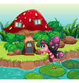 A butterfly waving near the red mushroom house vector image vector image