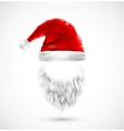 Accessories Santa Claus hat and beard eps 10 vector image vector image