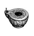 ancient clay oil lamp vector image vector image
