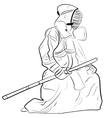 black and white sketch kendo samurai vector image