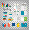 books and stacks on transparent background vector image vector image