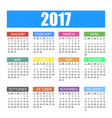 calendar for the year 2017 in colorful flat style vector image