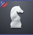 Chess knight icon symbol 3D style Trendy modern vector image