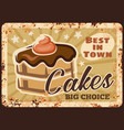chocolate cakes rusty grunge plate vector image vector image