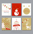 christmas card collection set simple modern vector image vector image