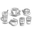 coffee cup ceramic and plastic containers set vector image
