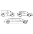 coloring book stylized cars set vector image vector image