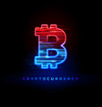 cryptocurrency concept textured neon light sign vector image vector image