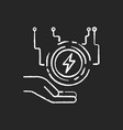 electricity supply chalk white icon on black vector image vector image