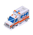 emergency ambulance car isometric automobile van vector image vector image