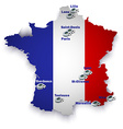 France soccer stadium map vector image vector image