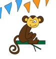 Funny brown monkey winks vector image