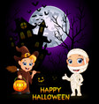 halloween costumes mummy and little witch vector image vector image