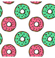 hand drawn colorful donut seamless pattern vector image